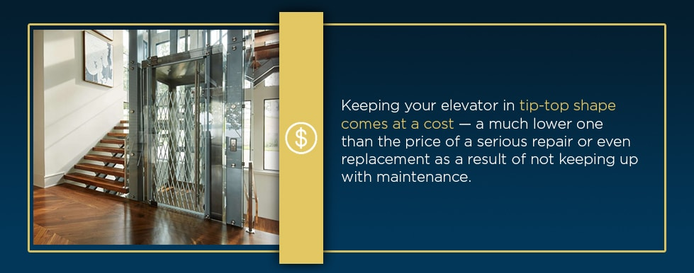 what is the cost of home elevator maintenance
